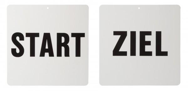 Fahrkegel Schilder Start und Ziel, weiß, 29 x 32 cm