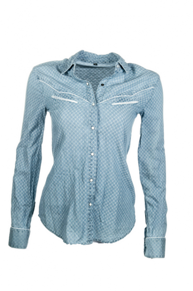 "Bibi & Tina Westernbluse ""Girls vs. Boys"", jeansblau"