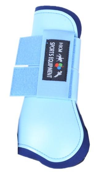HKM Springgamaschen Softopren für Vorderbein, babyblau/dunkelblau, Voll-/Warmblut