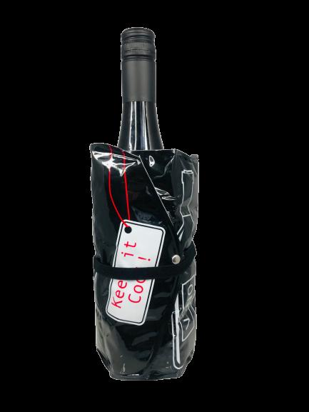 """Flaschenkühler """"Vino"""" schwarz weiß rot 15x3x19cm Weinkühler mit Klettverschluss"""