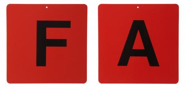 Fahrkegel Schilder Buchstaben A,B,C,D,E,F, rot
