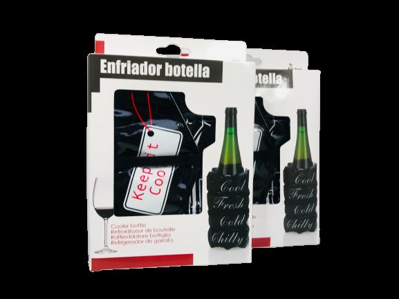 """2er Set Flaschenkühler """"Vino"""" schwarz weiß rot 15x3x19cm Weinkühler mit Klettverschluss"""