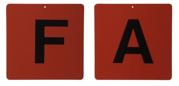 Fahrkegel Schilder Buchstaben A,B,C,D,E,F, weiss