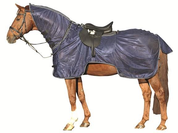hkm fliegenausreitdecke mit halsteil fliegenschutz reitsport pferdesport. Black Bedroom Furniture Sets. Home Design Ideas