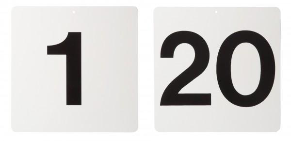 Fahrkegel Schilder Nummer 1 - 20, weiß