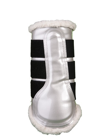 HKM Gamaschen Comfort Lack Silver XL