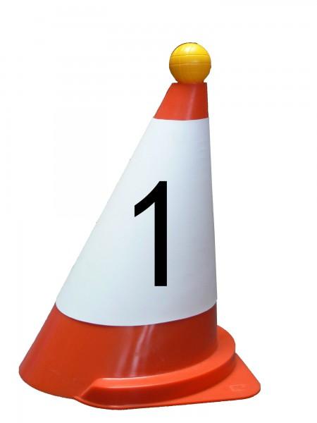 Manschette für Fahrkegel, rot, mit Ziffern oder Buchstaben