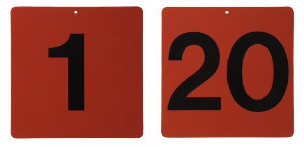 Fahrkegel Schilder Nummer 1 - 20, rot